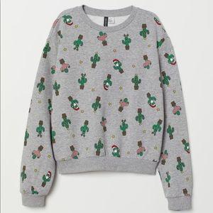 H&M | Gray Melange Cacti Christmas Sweater Size M